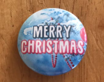 Merry Christmas Pinback Button, Happy Holidays Pin, Christmas Tree Magnet, Season's Greetings, Christmas Gift, Stocking Stuffer, Snow