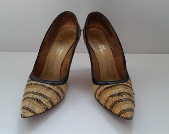 Gorgeous 1950s Andrew Geller 6AAA Fabric Tan Beige Black Striped Heel Pumps