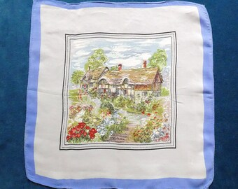 Handkerchief, vintage.  In the centre square is an old English thatched cottage with a lovely garden, white with a blue border, c1950's.