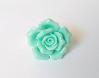 Teal Rose Adjustable Ring - Kawaii Jewelry Fairy Kei Jewelry Sweet Lolita Jewelry Decora Ring Decora Jewelry Pop Kei Jewelry Harajuku