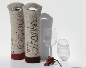 CROCHET PATTERN - Felted Wine Bottle Gift Bag - Instant Download (PDF)