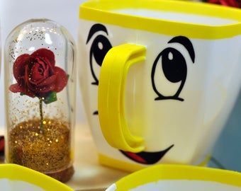 Adult_ Chip cup, beauty and the beast party, prince charming, belle, Chip cup