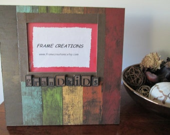 5x7 Grandkids Themed - Hand Decorated Picture Frame
