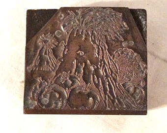 Printer's Block, Copper on Wood Printer's Block, Features Fall Scene with Silage Bundled Up, Pumpkins, Turkey, Pasture