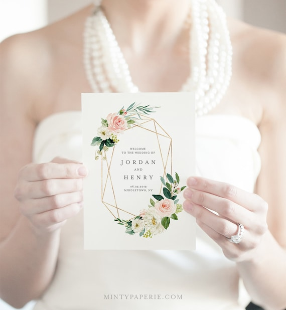 Folded Wedding Program Template, INSTANT DOWNLOAD, Order of Service, 100% Editable, Blush, Peach & Gold Floral, Boho Wedding  #043-118WP