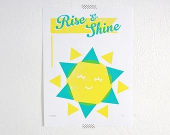 Kids Room Art, Rise and Shine, Sun Print, Nursery Art
