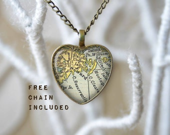 Seward Alaska heart shape map necklace. Romantic gift pendant. Free matching chain is included.