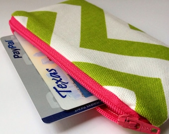 Zippered Coin Purse Wallet - Fabric Business Card Holder - Lime Green Chevron Stripes