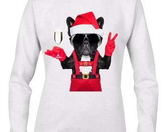 French Bulldog Santa Style Women's Christmas Jumper - Bulldog Dog Santa