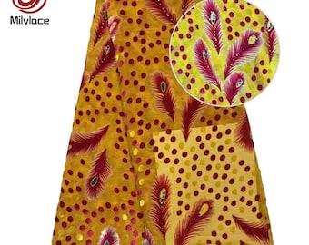 Afrcain imitated silk velvet fabric with charming stones multi color velvet fabric beautiful flower silk velvet fabric