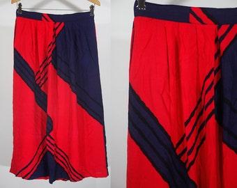 "10 Dollar Sale---Vintage 80's Red & Navy Blue Long Skirt 27"" Waist"