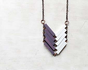 Wood Geometric Necklace / PROVENCE / Minimal Jewel / White / Lavander / Amethyst / Hand-Painted Necklace / Modern Necklace /Chevron Necklace