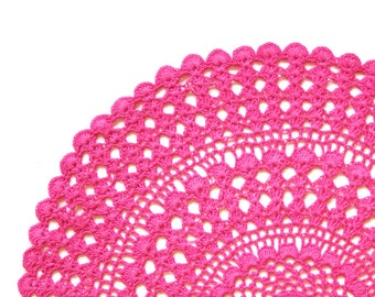Pink fuchsia hand dyed Crochet Vintage Doily