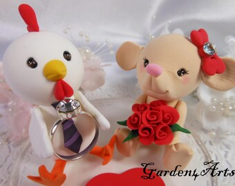 Wedding Cake Topper-- Chinese Zodiac Couple--love roster & mouse with circle clear base--New