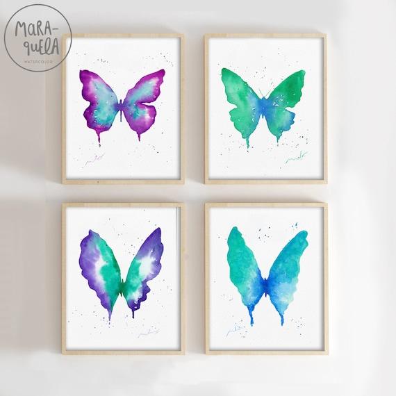 DESCUENTO de 4 mariposas en acuarela original. Watercolor painting handmade.