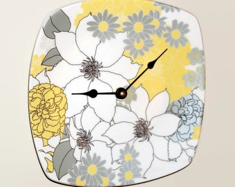 Yellow and Gray Floral Wall Clock, Silver and Yellow Clock, SILENT Porcelain Plate Clock, Unique Wall Decor, Kitchen Clock  1859