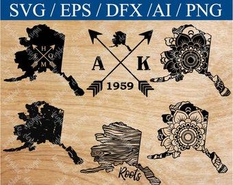 Alaska SVG Bundle, Alaska SVG, Alaska SVG Files, Alaska Silhouette Files, Alaska Circut Files, svg, eps, png, cut files, cutting files