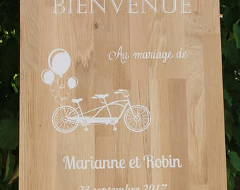 Tandem bicycle balloon welcome sign wood oak