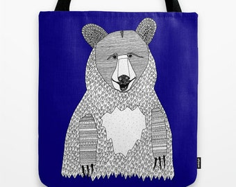 Big Blue Bear Tote Bag - Double Sided Tote - Beach Bag, Yoga Bag, Reusable Grocery Tote