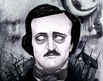 Edgar Allan Poe Watercolor A4 Print