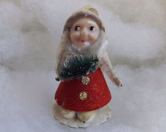 Vintage Christmas elf red cardboard pipe cleaner putz elf chenille dwarf plastic face with bottle brush tree made in Japan no. 1