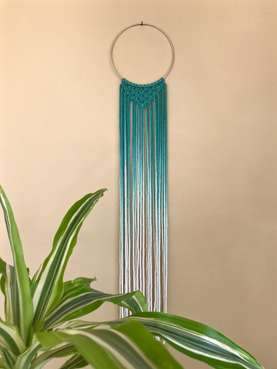 Macrame Dream Catcher - Hand Dyed Ombre Teal Rope