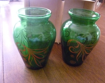 Beautiful Pair of  Vintage Green Vases
