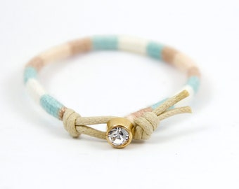 Woven Friendship Bracelet, rhinestone, pastel textile