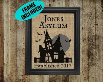 Personalized Halloween Print - 100% Burlap - Insane Asylum Print- Asylum Decor - Halloween Wall Decor - Insane Asylum Prints - Mantle Decor