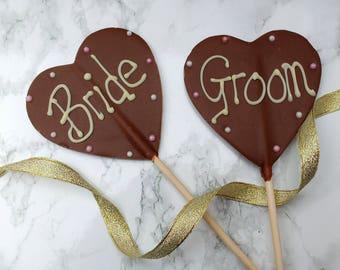 Belgian Chocolate Bride & Groom  heart lollipops. Lolly Lollies,  Wedding favours, gift