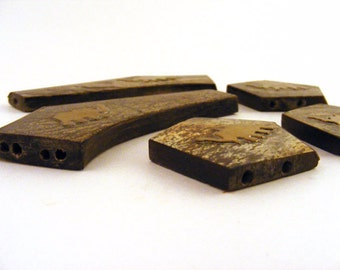 African Brass Elephant Inlaid Beads Jewelry Necklace Components Trapezoid Shapes Set of 5 Pieces