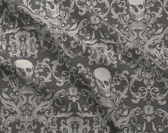 Skull Damask Fabric - Dread Damask In Charcoal Linen By Willowlanetextiles - Gothic Gray Cotton Fabric By The Yard With Spoonflower