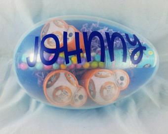 Personalized Easter egg, Large Easter egg, stuffed animal egg, Easter, Easter gift, Easter basket gift, Custom egg, Plastic egg for Easter