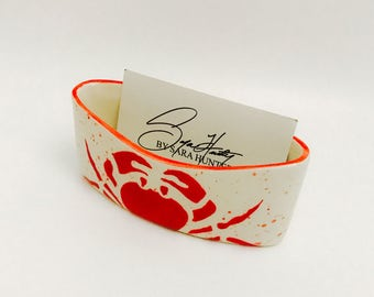 Crab Business Card Holder. Business. Card. Handmade by Sara Hunter.