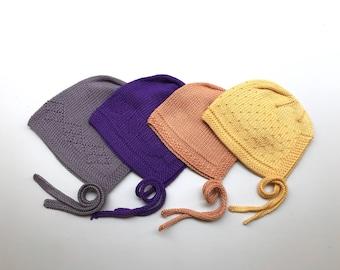 Baby bonnet, hand knitted bonnet, knit bonnet, 100% cotton, orange, yellow, purple, taupe