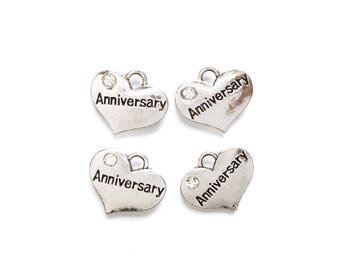 4 Antique Silver Anniversary Heart Charms - 21-29-9