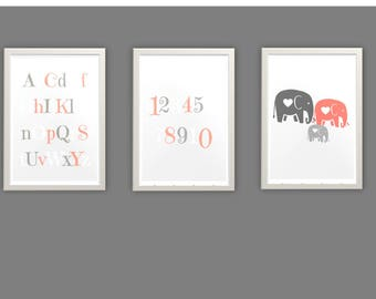 Nursery decor, neutral grey and coral posters, elephants, baby wallart,