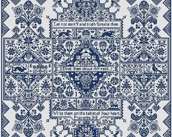 Do Different counted cross stitch pattern by Long Dog Samplers at thecottageneedle.com Celtic Scandinavian Proverbs 3:3 poetry