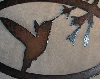Welcome Hummingbirds- Metal Wall Art Garden Decor- Suitable for Exterior or Interior