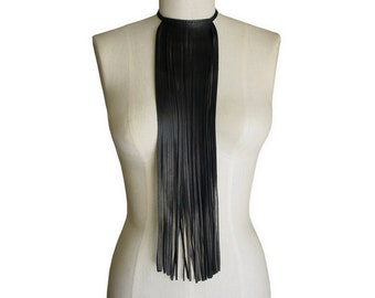 Goth Long Leather Fringe Necklace Choker Boho Necklace Fall Fashion Goth Necklace Choker Fall Leather Choker Necklace Black Goth Jewelry