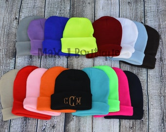 Monogrammed Knit Hat - Personalized Winter Hat - Embroidered Beanie - Skull Cap - Toboggan