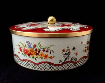 Tin by Daher Embossed Red Roses Flowers Floral Bouquet Gold Trim Round Metal Box Container Vintage England