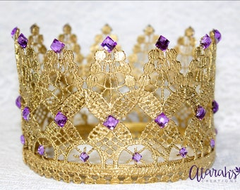 Gold Lace crown / Gold & purple Lace Crown /  Silver Lace Crown / Photo Prop / Cake topper / Photography Prop / MADE IN USA.