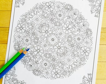 Flower Garden - Hand Drawn Adult Coloring Page Print