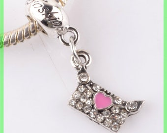Pearl European bail N977 bag Heart Rhinestone charms bracelet