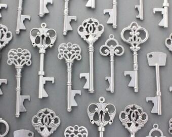 150 Pcs Antiqued Silver Skeleton Keys bottle openers Mix