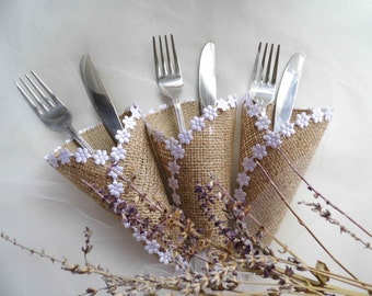 Silverware Holder, Burlap Cutlery Holder, Rustic Wedding, Accessories, Wedding Silverware Holder, Wedding Table Decoration,  Set of 60