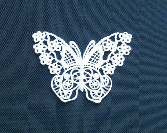 Lace Applique for Crafts or Crazy Quilt - Butterfly with Flower Wings