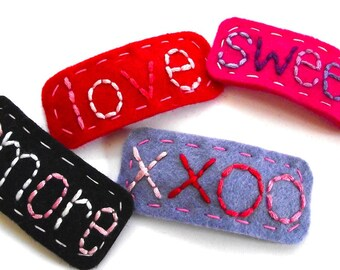 Valentine's Day Hair Clips - Set of Four - FREE US SHIPPING