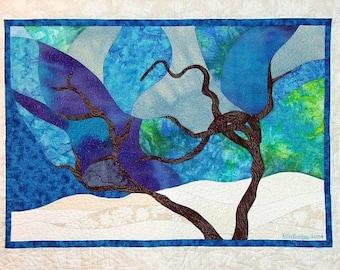 Winter Driftwood, 5x7 Inch Card, Blank Card, Winter Card, Snow, Blue Card, Tree, Tree, Kelly Burgess, Nova Scotia, Fabric Artist, Folk Art